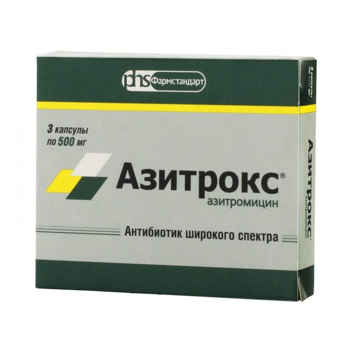 AZITROX® (Azithromycin, Zithromax) 500 mg/cap, 3 caps/pack