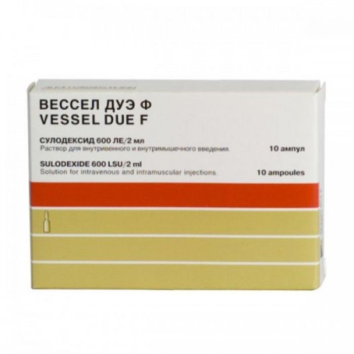 Vessel Due F (sulodexide) capsules, ampoules 600 IU/2ml 10 vials, 250 IU 50 capsules,