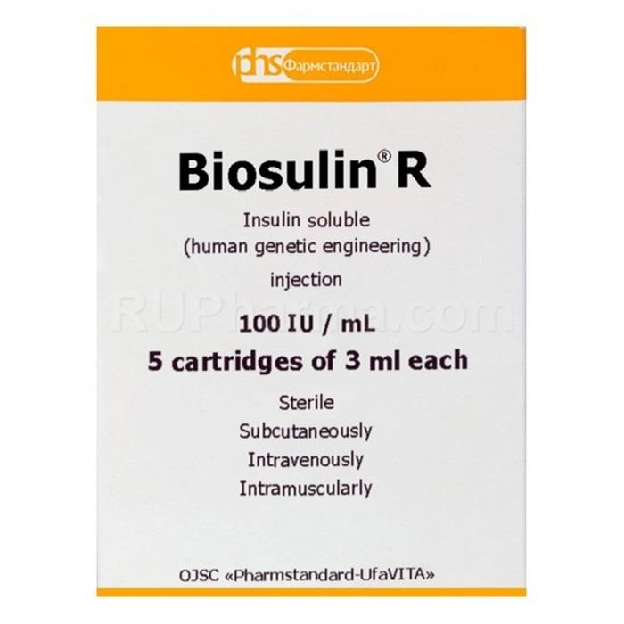 BIOSULIN R® Regular Short, 100 UI, 3 ml/vial (5 vials) - Pharmaceutics
