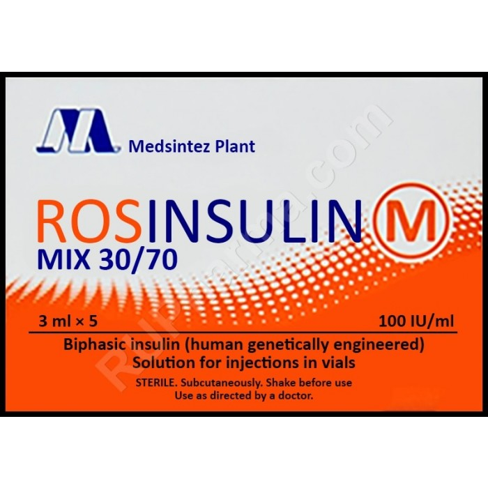 ROSINSULIN M MIX® 100 UI, 30/70, 3ml/vial (5 vials) - Pharmaceutics